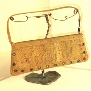 Cork Clutch Eyelet Studded Handbag-New Cute Purse!